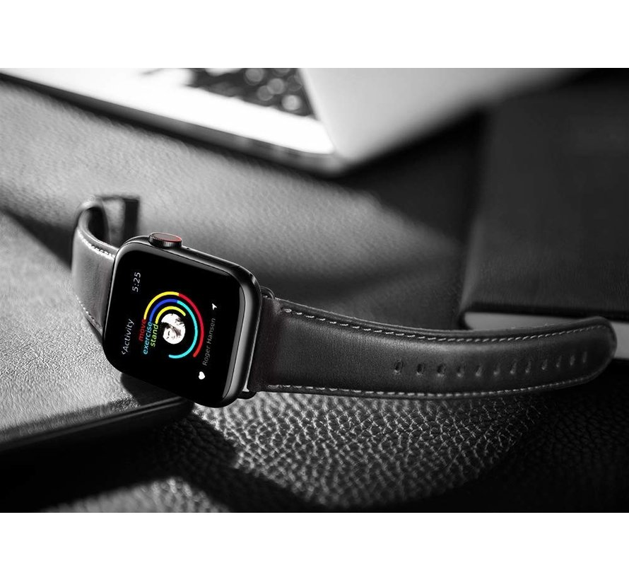 Strap-it® Apple Watch leren band (zwart)