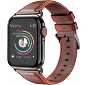 Apple Watch leren band (rood-bruin)