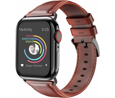 Strap-it® Strap-it® Apple Watch leren band (rood-bruin)
