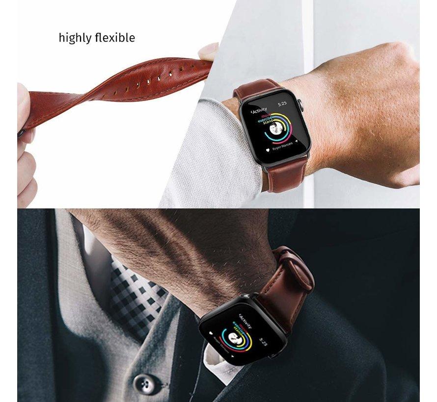 Strap-it® Apple Watch leren band (rood-bruin)