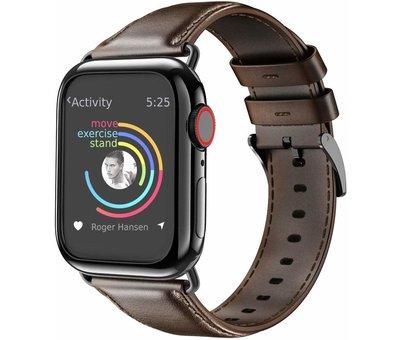 Strap-it® Strap-it® Apple Watch leren band (donkerbruin)