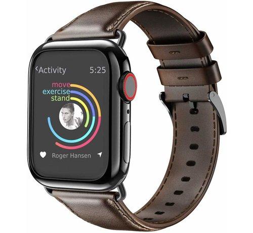 Apple Watch leren band (donkerbruin)