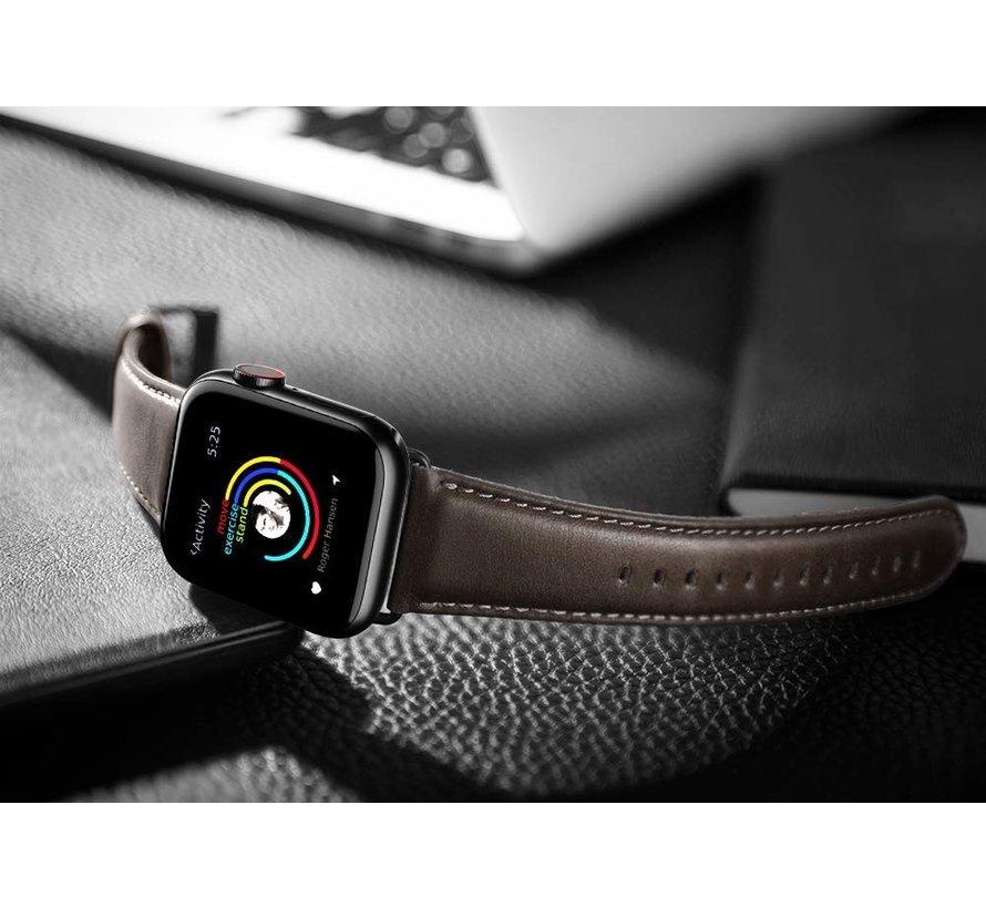 Strap-it® Apple Watch leren band (donkerbruin)