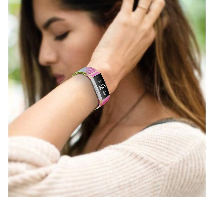 Strap-it® Fitbit Charge 4 Milanese band (regenboog)