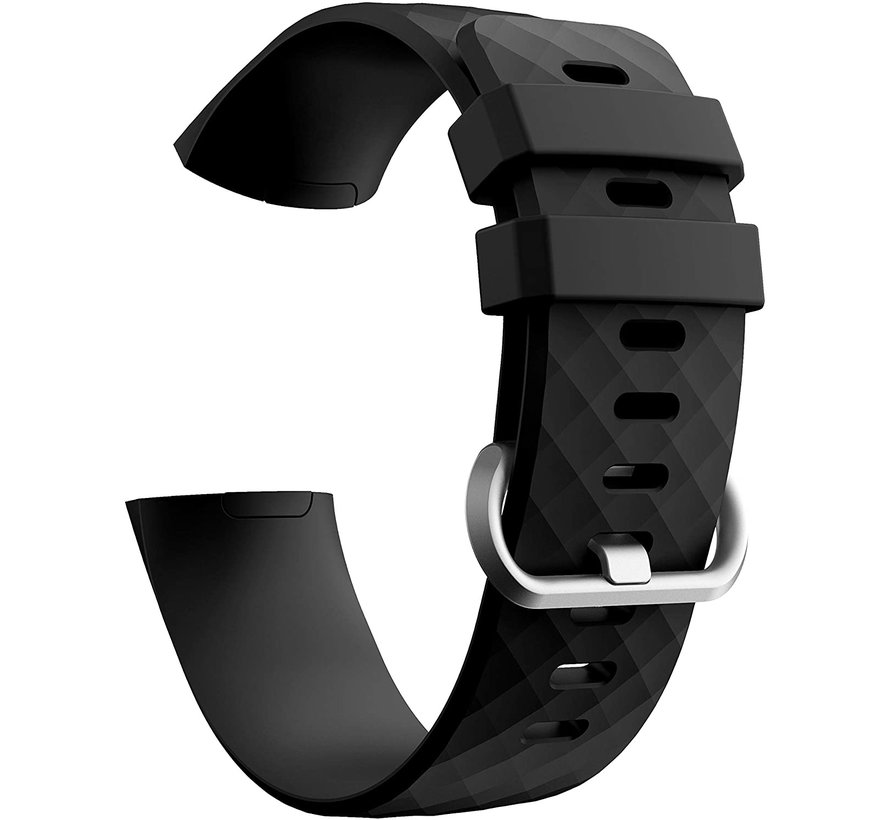 Strap-it® Fitbit Charge 4 silicone band (zwart)