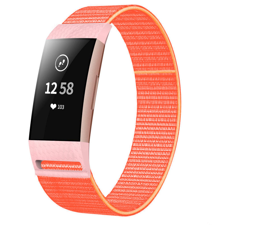 Strap-it® Fitbit Charge 3 nylon bandje (oranje)