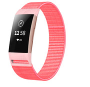Strap-it® Fitbit Charge 3 nylon bandje (Roze-rood)
