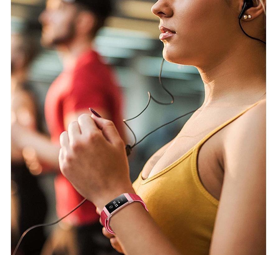 Strap-it® Fitbit Charge 3 nylon bandje (Roze-rood)