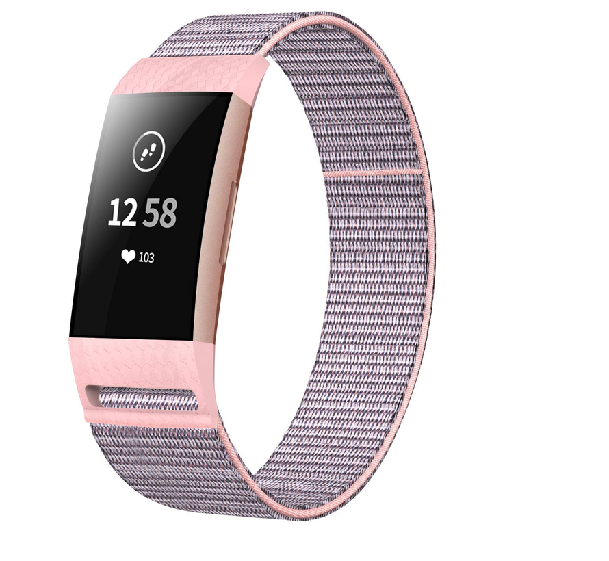 Strap-it® Fitbit Charge 4 nylon band (roze)