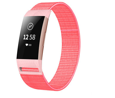 Strap-it® Strap-it® Fitbit Charge 4 nylon band (roze/rood)