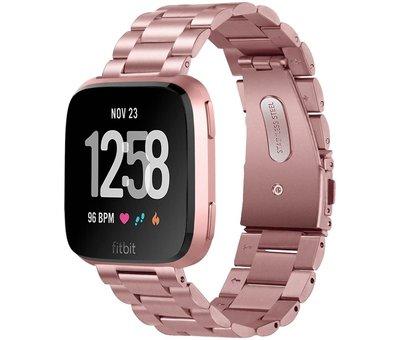 Strap-it® Strap-it® Fitbit Versa stalen bandje (roze)