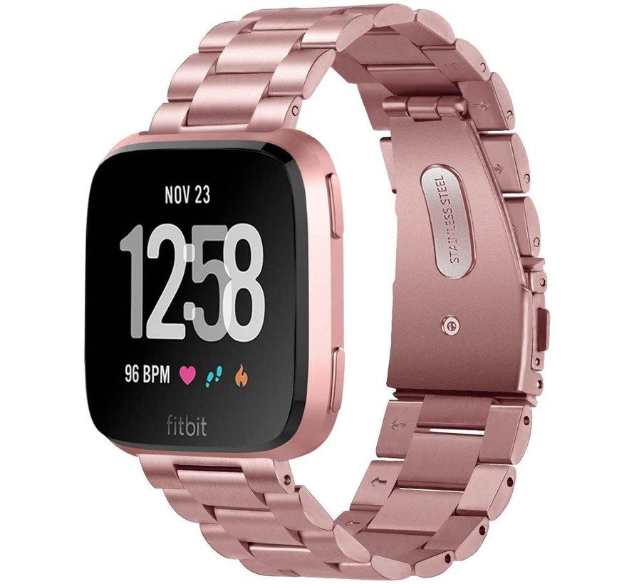 Strap-it® Fitbit Versa stalen bandje (roze)