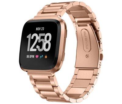 Strap-it® Strap-it® Fitbit Versa stalen bandje (rosé goud)