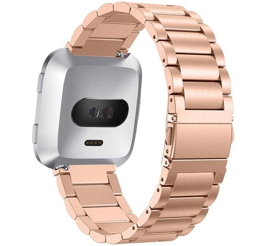 Strap-it® Fitbit Versa stalen bandje (rosé goud)