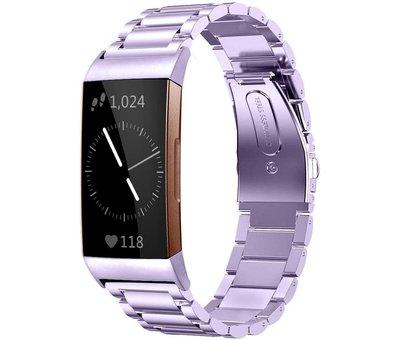 Strap-it® Strap-it® Fitbit Charge 3 stalen bandje (paars)