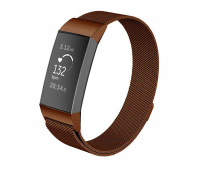 Strap-it® Strap-it® Fitbit Charge 3 Milanese band (bruin)