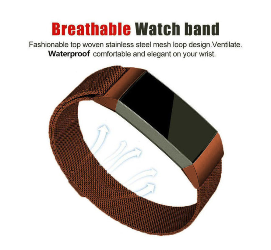 Strap-it® Fitbit Charge 3 Milanese band (bruin)