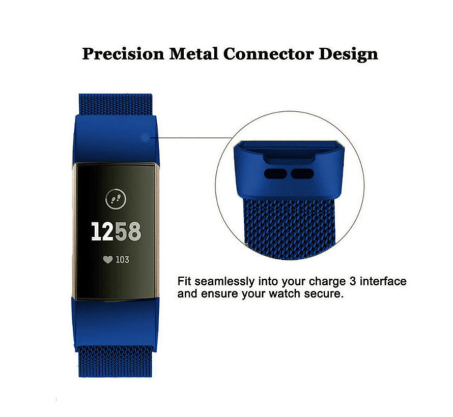 Strap-it® Fitbit Charge 3 Milanese band (blauw)