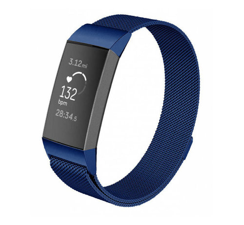 Strap-it® Strap-it® Fitbit Charge 3 Milanese band (blauw)