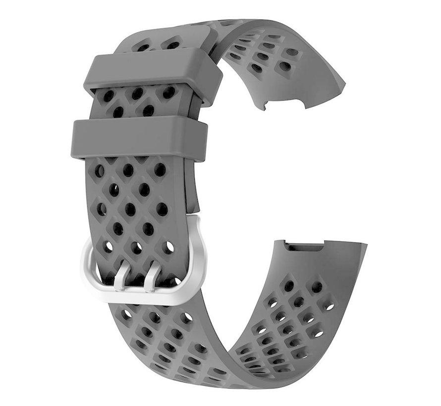Strap-it® Fitbit Charge 3 siliconen bandje met gaatjes (zwart)