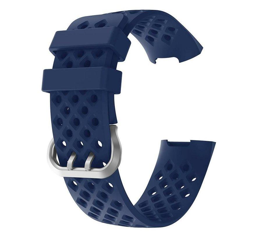 Strap-it® Fitbit Charge 3 siliconen bandje met gaatjes (donkerblauw)