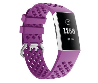 Strap-it® Strap-it® Fitbit Charge 3 siliconen bandje met gaatjes (donkerpaars)