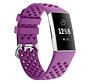 Strap-it® Fitbit Charge 3 siliconen bandje met gaatjes (donkerpaars)