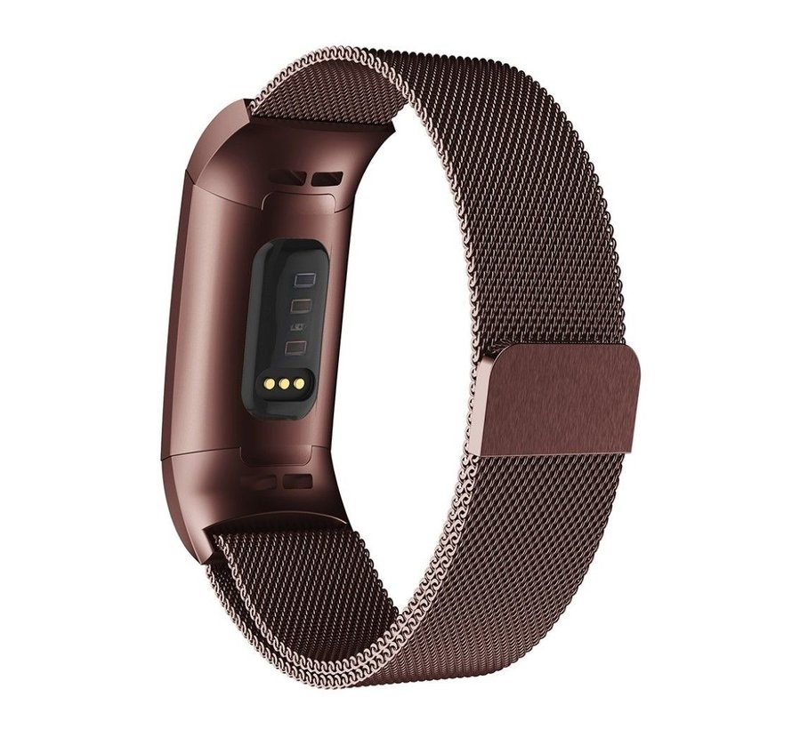Strap-it® Fitbit Charge 4 Milanese band (bruin)