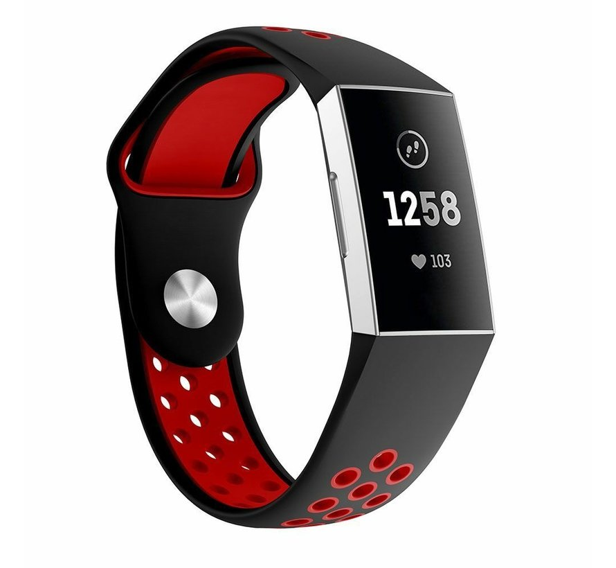 Strap-it® Fitbit Charge 4 sportband (zwart rood)