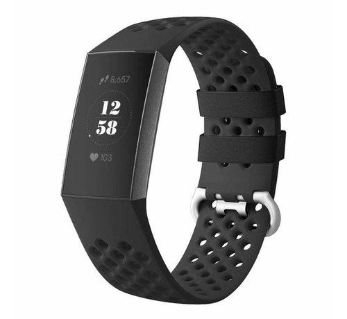 Strap-it® Strap-it® Fitbit Charge 4 siliconen bandje met gaatjes (zwart)