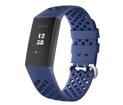 Strap-it® Strap-it® Fitbit Charge 4 siliconen bandje met gaatjes (donkerblauw)