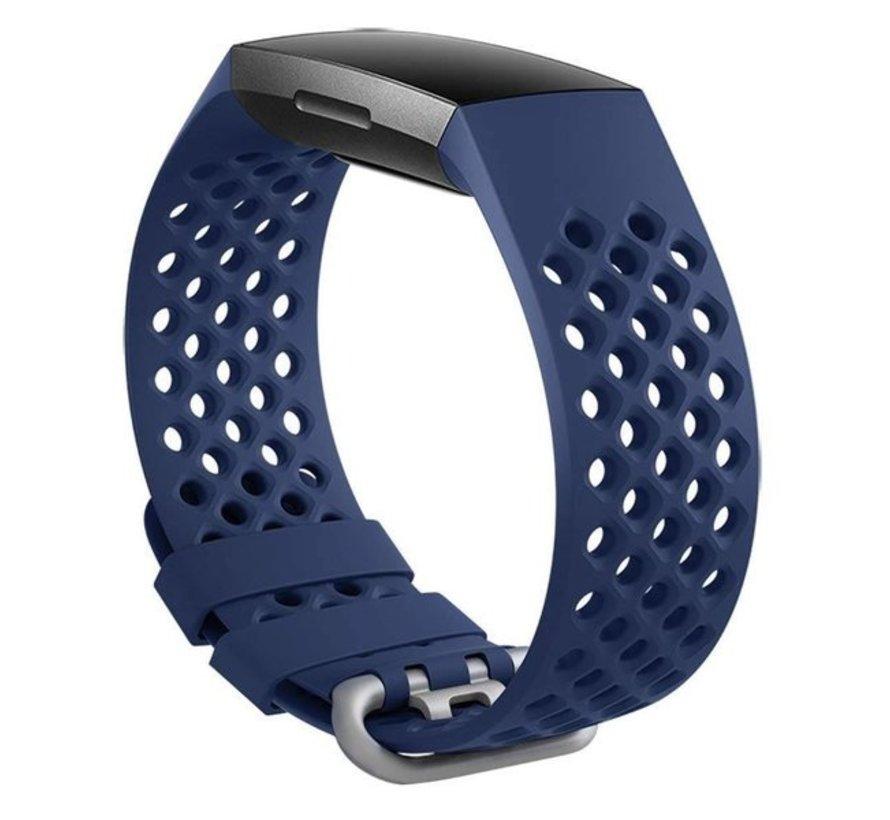 Strap-it® Fitbit Charge 4 siliconen bandje met gaatjes (donkerblauw)