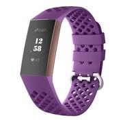 Strap-it® Fitbit Charge 4 siliconen bandje met gaatjes (donkerpaars)