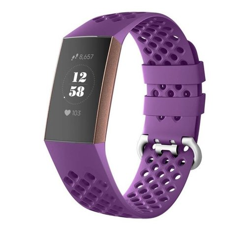 Strap-it® Strap-it® Fitbit Charge 4 siliconen bandje met gaatjes (donkerpaars)