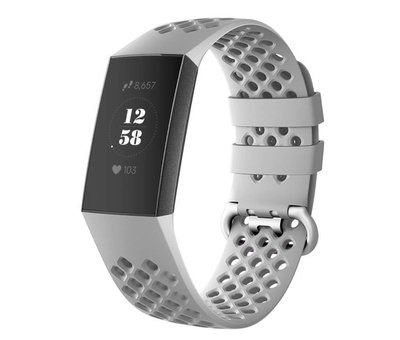 Strap-it® Strap-it® Fitbit Charge 4 siliconen bandje met gaatjes (grijs)