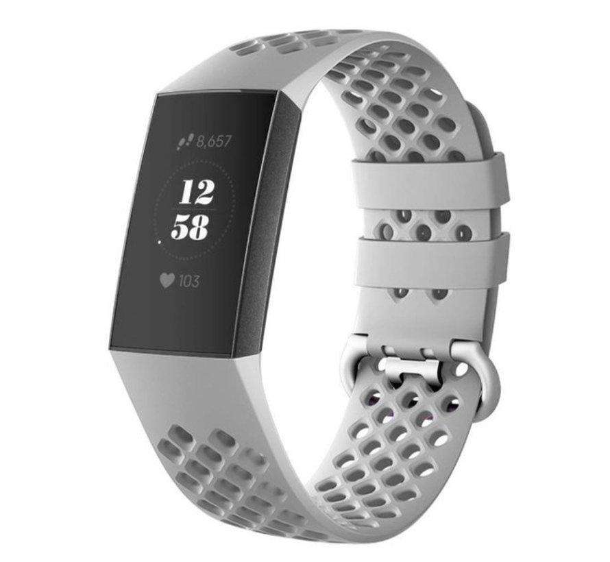 Strap-it® Fitbit Charge 4 siliconen bandje met gaatjes (grijs)
