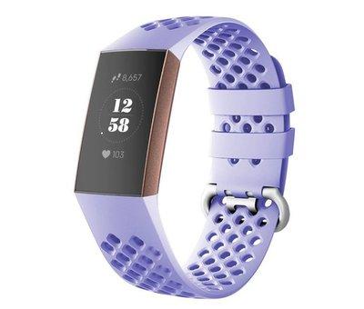 Strap-it® Strap-it® Fitbit Charge 4 siliconen bandje met gaatjes (lila)