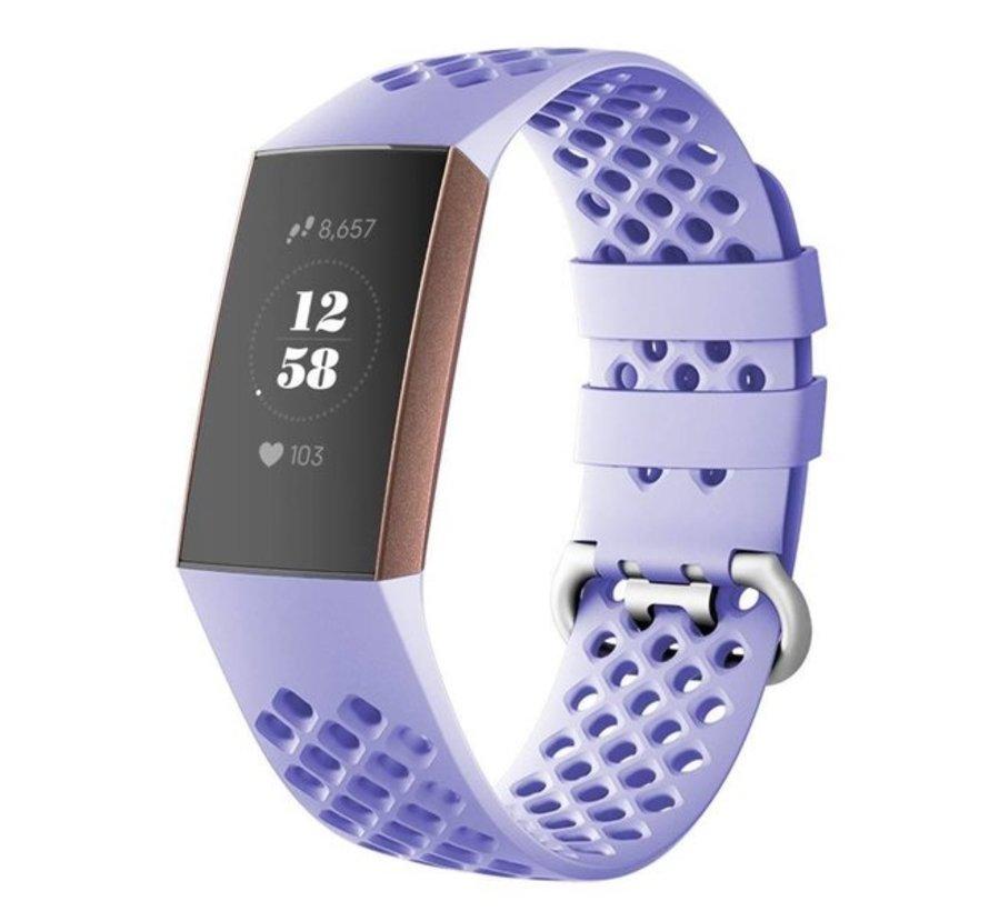 Strap-it® Fitbit Charge 4 siliconen bandje met gaatjes (lila)