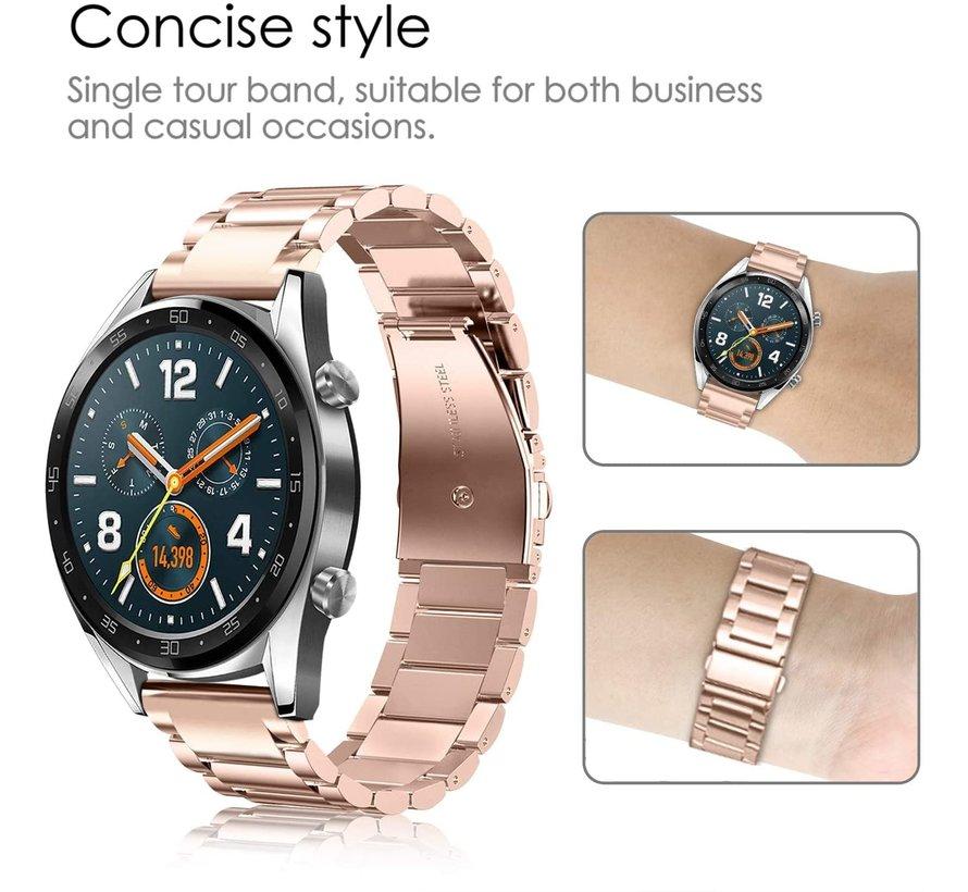 Strap-it® Huawei Watch GT stalen band (rosé goud)