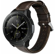 Strap-it® Samsung Galaxy Watch leren band 41mm / 42mm (donkerbruin)