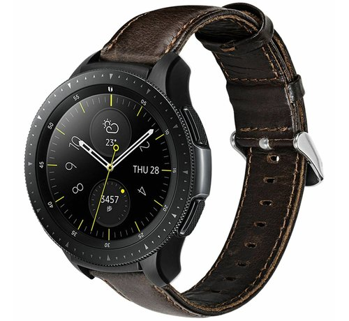 Strap-it® Strap-it® Samsung Galaxy Watch leren band 41mm / 42mm (donkerbruin)