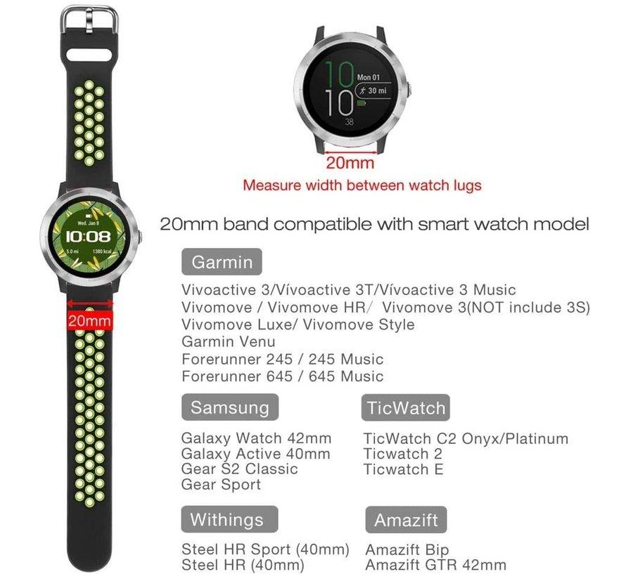 Strap-it® Garmin Vivoactive 3 sport band (zwart/geel)