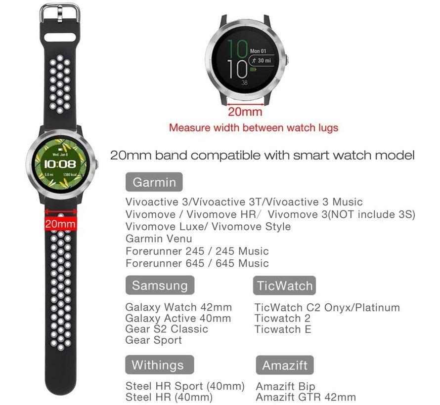 Strap-it® Garmin Vivoactive 3 sport band (zwart/grijs)