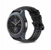 Strap-it® Samsung Galaxy Watch siliconen / leren bandje 45mm / 46mm (zwart)