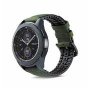 Samsung Galaxy Watch siliconen / leren bandje 45mm / 46mm (zwart/groen)