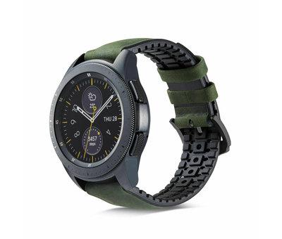 Strap-it® Strap-it® Samsung Galaxy Watch siliconen / leren bandje 45mm / 46mm (zwart/groen)