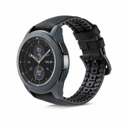 Samsung Galaxy Watch siliconen / leren bandje 41mm / 42mm (zwart)