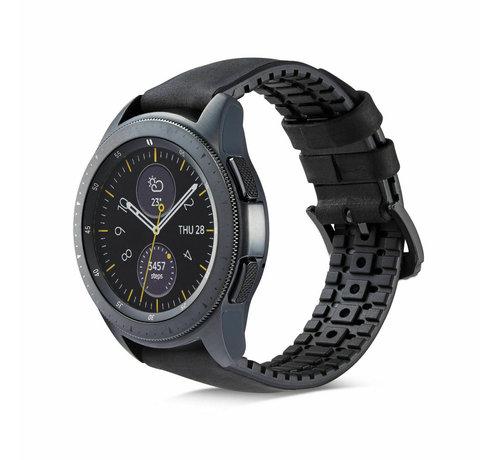 Samsung Galaxy Watch siliconen / leren bandje 42mm (zwart)