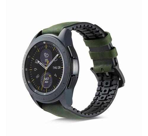 Strap-it® Strap-it® Samsung Galaxy Watch siliconen / leren bandje 41mm / 42mm (zwart/groen)
