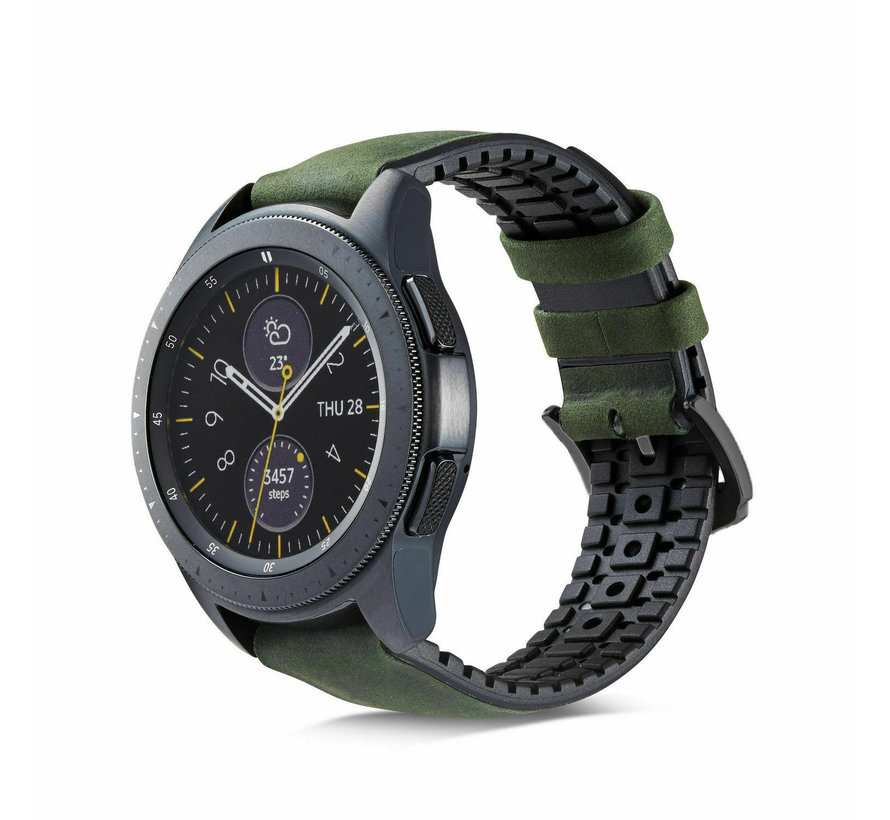 Samsung Galaxy Watch siliconen / leren bandje 42mm (zwart/groen)
